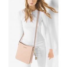 Michael Kors jet set large messenger saffiano leather soft pink růžový