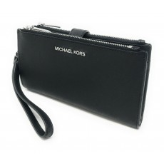 Michael Kors peněženka wristlet saffiano leather double zip black silver