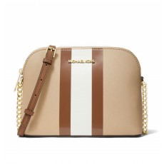 Michael Kors Cindy striped saffiano leather dome crossbody bisque multi