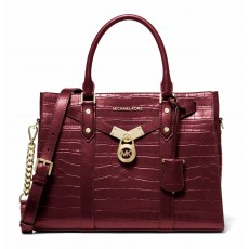 Kabelka Michael Kors Nouveau Hamilton large crocodile embossed leather berry