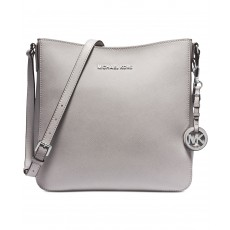Michael Kors jet set large messenger saffiano leather pearl gray šedý