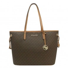 Michael Kors kabelka jet set drawstring large signature brown hnědá