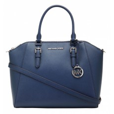 Kabelka Michael Kors Ciara large saffiano leather navy silver