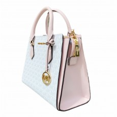 Michael Kors Hope medium messenger logo white powder pink