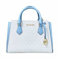 Michael Kors Hope medium messenger logo white pale blue