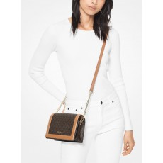 Michael Kors jet set large logo and leather crossbody  brown/acorn
