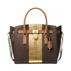 Michael Kors Hamilton large east west satchel brown/gold
