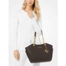 Michael Kors kabelka jet set travel large chain brown + peněženka MK zip around ZDARMA