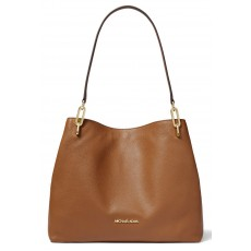Michael Kors Leighton large pebbled leather shoulder bag luggage hnědá