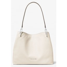 Michael Kors Leighton large pebbled leather shoulder bag cream