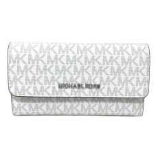 Michael Kors peněženka jet set travel trifold signature bright white