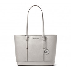 Michael Kors jet set travel small saffiano leather kabelka aluminum šedá