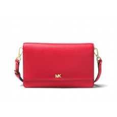 Michael Kors convertible pebble leather crossbody bright red červená