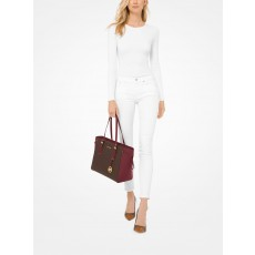 Michael Kors signature Voyager multifunction top zip dark berry