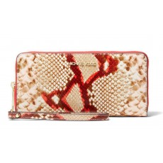 Michael Kors peněženka large python embossed leather wristlet coral multi
