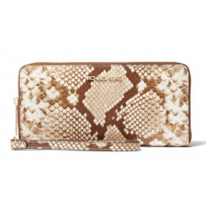 Michael Kors peněženka large python embossed leather wristlet natural