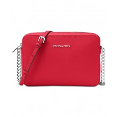 Michael Kors jet set large crossbody saffiano bright red/silver