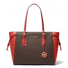 Michael Kors signature Voyager multifunction top zip brown persimmon