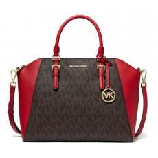 Kabelka Michael Kors Ciara large satchel brown/red hnědá