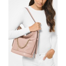 Michael Kors kabelka Reese large pebbled leather shoulder soft pink růžová