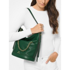Michael Kors kabelka Reese large pebbled leather shoulder moss zelená