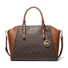 Kabelka Michael Kors Ciara large logo leather satchel brown hnědá