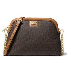 Michael Kors kabelka crossbody dome large logo brown/acorn hnědá