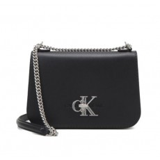 Calvin Klein kabelka crossbody full flap black silver
