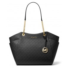 Michael Kors kabelka jet set travel large chain signature black gold černá