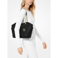 Michael Kors kožená kabelka jet set travel large chain black
