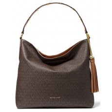 Michael Kors kabelka Brooklyn large logo shoulder bag brown hnědá