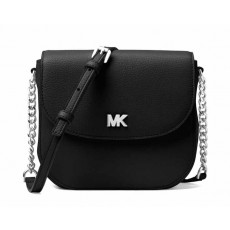 Michael Kors Mott leather dome crossbody black/silver