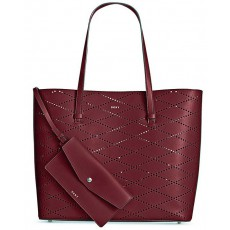 DKNY Marley diamond perforated large tote scarlet