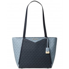 Michael Kors Whitney medium leather tote admiral/pale blue
