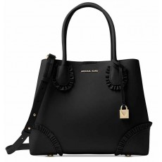 Kožená kabelka Michael Kors Mercer gallery medium ruffled tote black gold