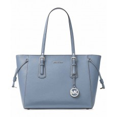 Michael Kors Voyager large multifunction top zip pale blue/silver