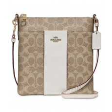 COACH crossbody messenger signature tan chalk