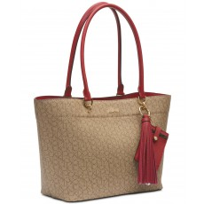 Calvin Klein kabelka Susan signature khaki/brown/red