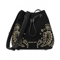 Semišový vak Michael Kors Cary crossbody embellished bucket black