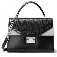 Michael Kors kožená kabelka Sloan medium top handle black pewter