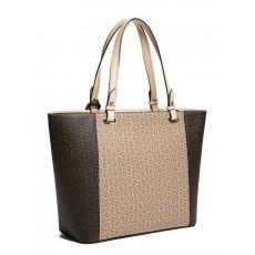 GUESS kabelka Rigden large monogram tote brown multi