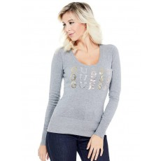 GUESS svetr Laine logo pullover sweater grey
