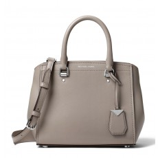 Michael Kors Benning medium leather satchel pearl grey