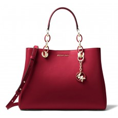 Michael Kors kabelka Cynthia medium leather maroon