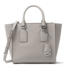 Michael Kors kožená kabelka Selby crossgrain leather medium pearl grey