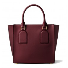 Michael Kors kožená kabelka Selby crossgrain leather medium oxblood