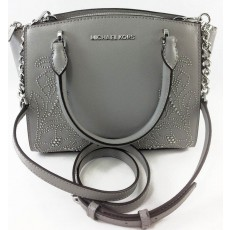 Kabelka Michael Kors Ellis small leather satchel studded grey