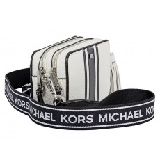 Michael Kors kožená crossbody kabelka small camera bag optic white black