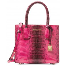 Michael Kors Mercer kabelka python embossed leather medium messenger ultra pink